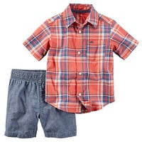Baby Boy Carter's Plaid Button-Down Shirt & Shorts Set