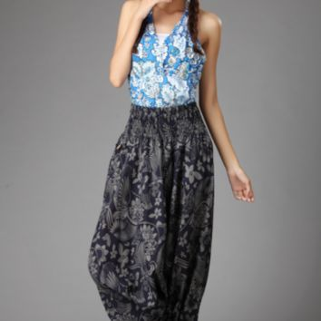Retro Floral Dark Blue Linen Woven Baggy Harem  Yoga Dancing Trousers Pants
