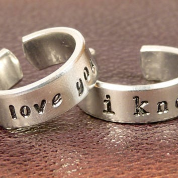 I Love You I Know - Star Wars - Adjustable Aluminum Couples Rings
