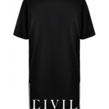 Civil Bottom Side Zip Long Tee in Black