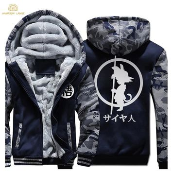 Japan Anime DRAGON BALL Z  Hoodies Men 2019 Winter Warm Jackets Fleece High Quality Thick Sweatshirts Plus Size Men's Coat