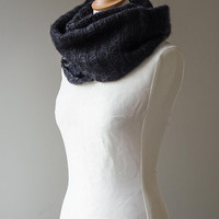 Knitted cowl, knitted silk and mohair cowl, knitted snood in black colour 'Smoke Icicle'