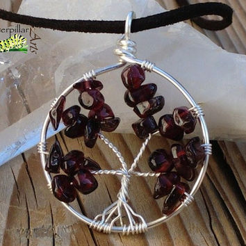 Natural Garnet Tree of Life Necklace - Tree of Life Jewelry - Silver Plated Copper - Made to Order