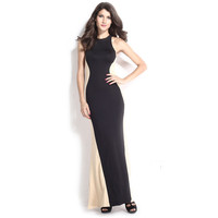 Women's Fashion Round-neck Sexy Mosaic Prom Dress One Piece Dress [6050044993]
