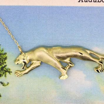 Panther Necklace Pendant | 10k Yellow Gold Necklace | Statement Necklace | Charm Neckl