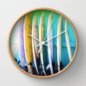 surfboards Wall Clock by Sylvia Cook Photography