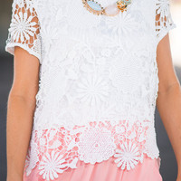 Floral Who Wander Top, White
