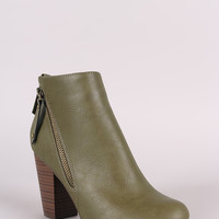 Breckelle Zipper Trim Chunky Heeled Ankle Boots
