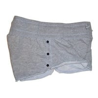 Super Short Shorts in Gray with Black Stud Buttons Womens Clothing Extra Small