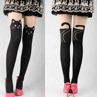 Cat Pattern Pantyhose Stockings Tights
