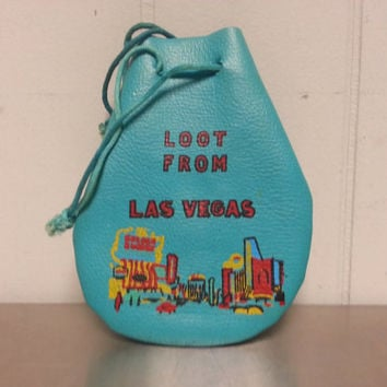 Vintage 70's Las Vegas Nevada Tourist Faux Leather Painted Coin Purse Loot Collectible Retro Fashion Light Blue