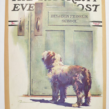 Dog Waits for Boy Vintage Print of Dog, Original 1938 Saturday Evening Post Cover, Old Color Print, Young Cowboy Cries, Cows Art Print