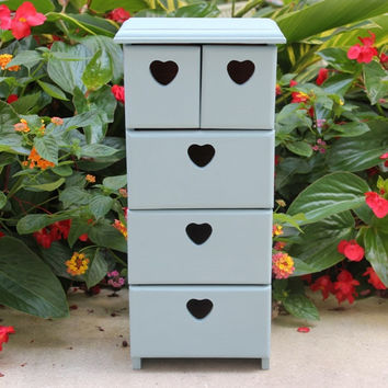Shabby chic wood jewelry box, organizer, five draws with heart cut-outs hand-painted in Annie Sloan light blue chalk paint