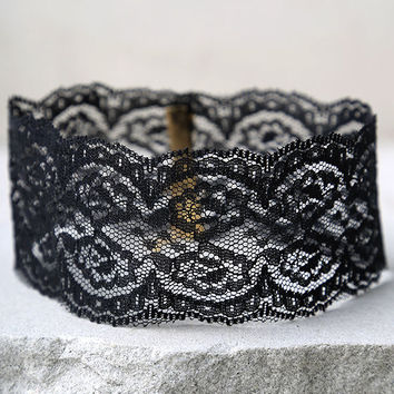 Lace Goals Black Lace Choker Necklace