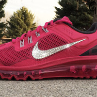 Bling Nike Air Max 2013+ Glitter Kicks Running Shoe with Hand Customized Swarovski Crystal Elements Rhinestone Swoosh Fuchsia Pink Red