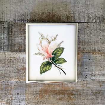 Embroidery Wall Art Flower Embroidery Framed Wall Hangings Vintage Framed Crewel Embroidery Picture Needlepoint Wall Hanging Floral Design