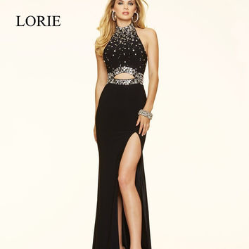 Black Mermaid Prom Dresses 2017 Vestido Longo Halter Side Split Sexy Women Red Beaded Evening Dresses Long Turquoise Party Gowns