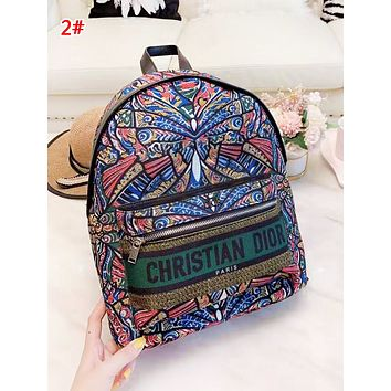 DIOR New fashion letter print multicolor retro high quality backpack bag women 2#