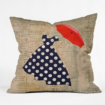 Irena Orlov Red Umbrella Throw Pillow