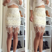 Crochet Lace Fringe Skirt