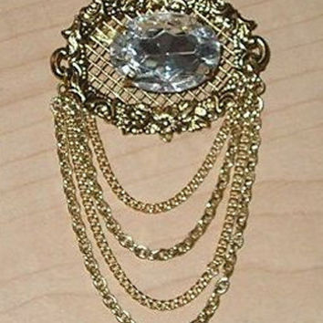 Vintage Edwardian Large CRYSTAL White Topaz Filigree Gold Latice and Dangling Chains Lavaliere BROOCH