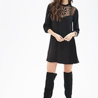 FOREVER 21 Crochet Panel Shift Dress