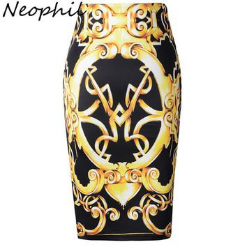 Neophil 2017 Retro Ethnic Gold Totem Print High Waist Sexy Midi Pencil Skirts Womens Plus Size Black Slim Tutu Jupe Femme S1003