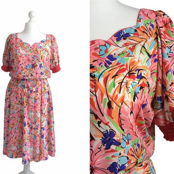 Vintage Foral Print Dress - Virginie Paris - Size Large  - Day Dress - Summer Dress - Pink And Red Crepe - Made In France
