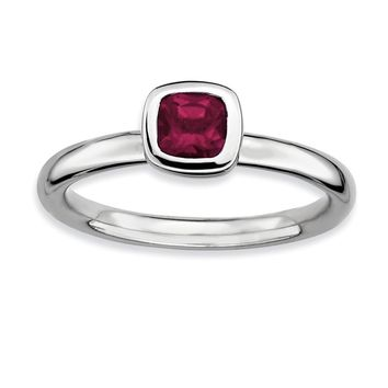 Silver Stackable Cushion Cut Rhodolite Garnet Solitaire Ring