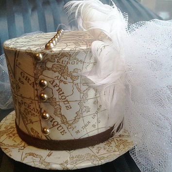 Steampunk Wedding Tophat Fascinator / Mini Tophat Old World Style Map Print / White and Brown Satin Hat - Steamship Bound