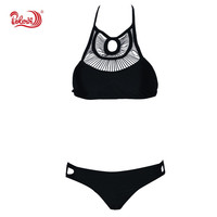 2016 High Quality Women Retro Swimsuit Bathing Suit Swimwear Brazilian High Neck Bandage Knitting Vintage Bikini Set SQSJ16006#2