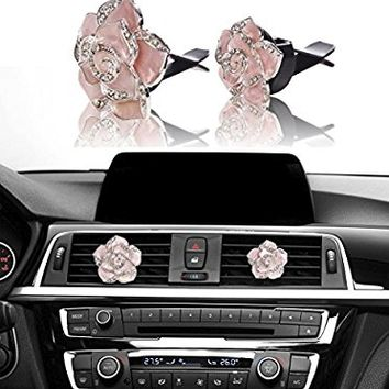 Car Bling Decoration, Mini-Factory Bling Car Interior Accessories Air Vent Sparkle Rhinestone Diamond Clip - Pink Flowers (1 Pair)