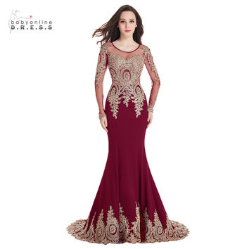 2017 Mermaid Long Sleeve Burgundy Prom Dresses Gold Lace Appliques Sexy Sheer Back Long Wine Prom Dress Red Formal Party Dress