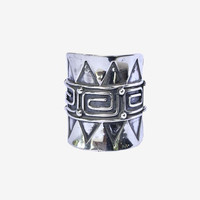 Tribal Style Handcrafted Boho Ring in Sterling Silver