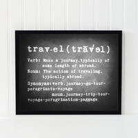 Chalkboard print art travel chalk board decor typography quote black white home decor 8x10 dictionary