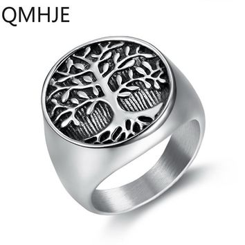 Lucky Tree Life Men Ring Signet Seal Silver Titanium Stainless Steel Male Rings Wedding Punk Rock Hip Biker Band Women DAR282