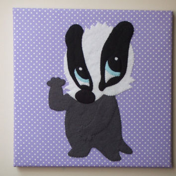 Handmade Felt Fabric Cute Badger Art Nursery Decor Wall Art Canvas Picture Wall Hanging