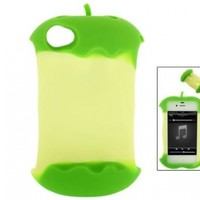 Green Apple Core 3D Cartoon Silicone Case Cover for iPhone 4 4G 4S