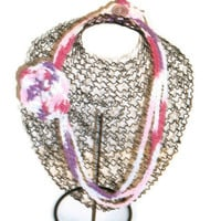 Crochet Floral Embellished Chain Necklace - Choose Your Color - Fashion Accessories - Made to Order