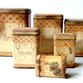 Antique french kitchen canisters set 1910s  Kitchen containers  French Antique canisters Cottage Shabby chic.