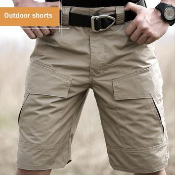 Summer Militar Waterproof Shorts Tactical Cargo Men Teflon Camouflage Army Military Short Male Pockets Rip-stop Casual Shorts