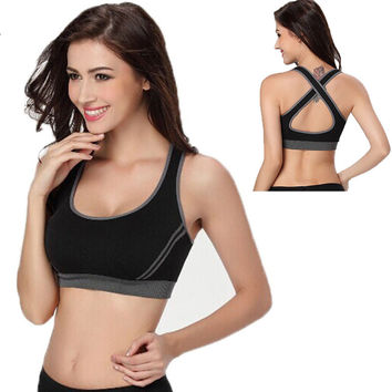 Sexy Gym Woman Sportswear Jogging Racerback Sports Bra Padded Underwear Fitness Running Clothes For Women Tennis Vest Tank Tops