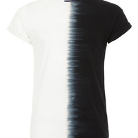 BLACK HALF TIEDYE HIGH ROLL T-SHIRT - TOPMAN USA