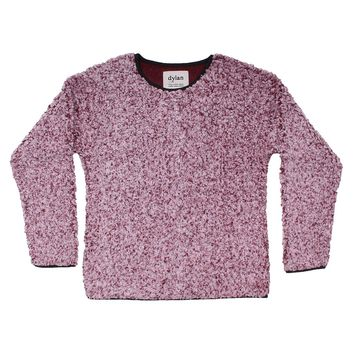 Solid Frosty Tipped Drop Shoulder Crew Sweater in Vintage Wine by True Grit (Dylan)