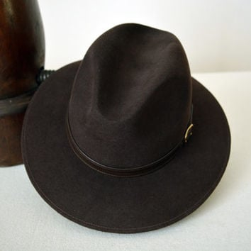 Chocolate Brown Safari Fedora - Wide Brim Merino Wool Felt Fedora / Indiana Jones Hat - Men Women