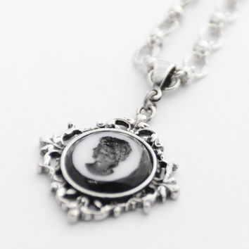 Silhouette Necklace, Cameo Necklace, Silver Necklace, Perfect Gift for Her, Timeless Jewelry, Filigree Necklace, Vintage West German Cameo
