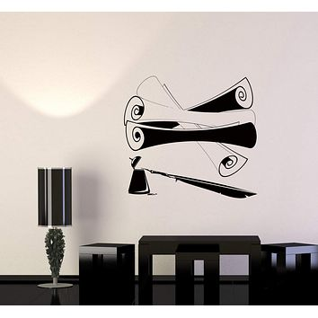 Wall Sticker Literature Parchment Scroll Pen Ink Writing Vinyl Decal Unique Gift (ed505)