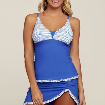 Blue Summer Fashion Hollow Out Tankini Bathing Suit LAVELIQ