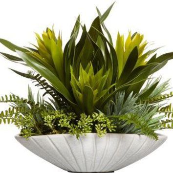 Mixed Tropical In White Oval Bowl