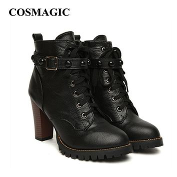 2017 New Winter Women Black High Heel Martin Boots Buckle Gothic Punk Ankle Motorcycle